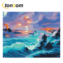RIHE Night Ocean Diy Painting By Numbers Waves Oil On Canvas Hand Painted Cuadros Decoracion Acrylic Paint Home Art