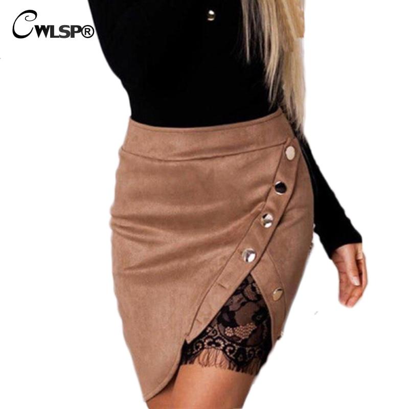 CWLSP Autumn Winter Pencil Skirt Women Mini Suede Skirts