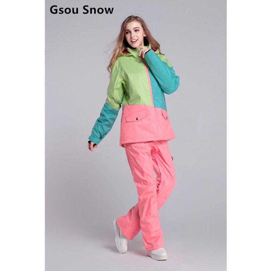 Prix pour Le nouveau Gsou snow ski costume féminin costume couleur denim coupe-vent imperméable respirant chaud sort