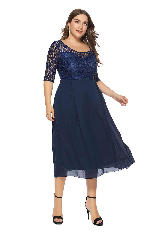 Eleganckie damskie eleganckie sukienki dla matki panny młodej 2019 tanie granatowy koronki Midi sukienka Plus rozmiar sukienki dla matki szata De Soiree