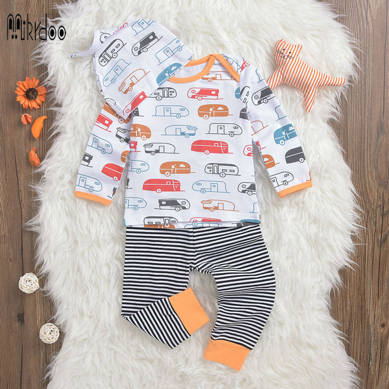 Baby boy clothes T-shirt pants hat suit pattern car striped clothing set cotton top trousers cap long sleeve fashion costume hot 2pcs set baby clothes set boy
