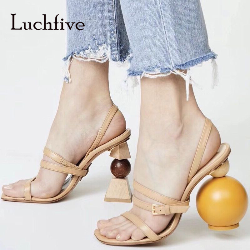 7e8f58fcf3176d 2018 Chic Handmade Gladiator Sandals Woman Open Toe Irregular Ball Block  Strange High Heel Shoes Woman