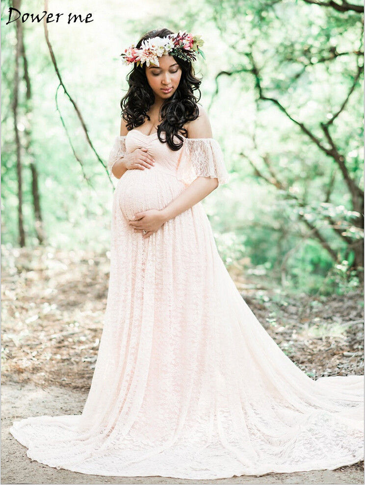 Gravida Maternity Photography Props Photo Lace Dresses Pregnancy Pregnant Maxi Dress Mama Gown Large Size Pregnant Woman Dress plus size lace trim maxi dress