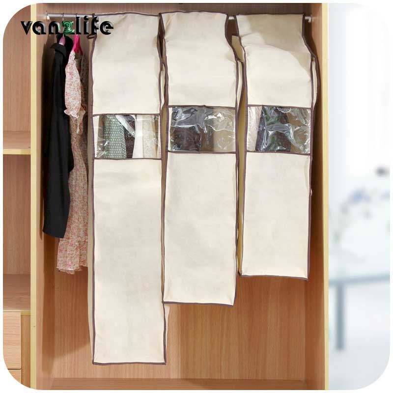 vanzlife thick non-woven fabric 3D clothes dust cover coffee color transparent window dust proof bag for overcoat, suits