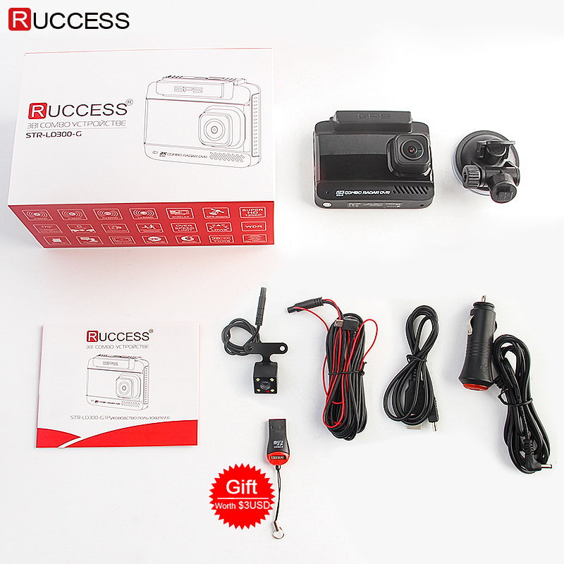 Ruccess Radar Detector GPS 3 in 1 Dual Lens FHD 1296P Dash Cam Russian Speed cam Anti-Radar Video Recorder Car Camera (2)