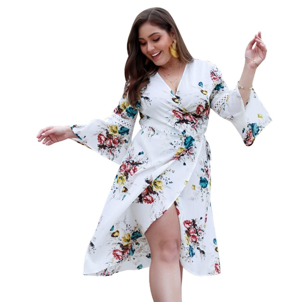 Women Dress Spring Summer 2019 New Print Plus Size Women's Dress Fat Sister Print Dresses