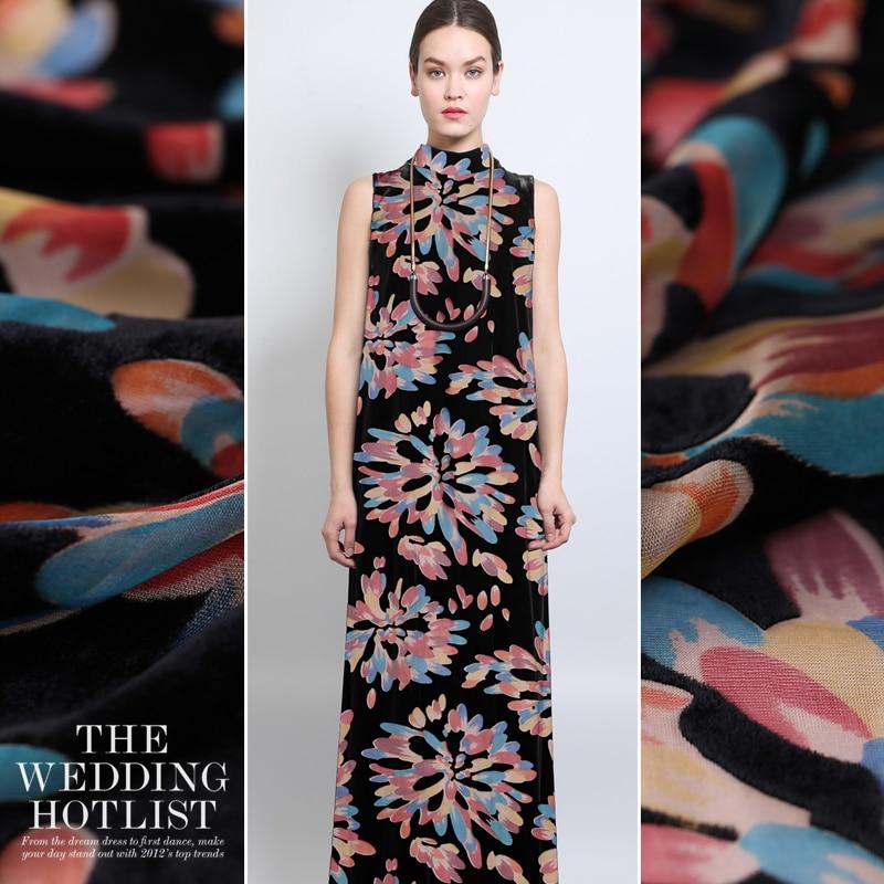 Spring And Summer High-custom Hollow Hollow Silk Velvet Fabric Silk Cloth Silk Velvet Costume Cheongsam Fashion Skirt Fabric