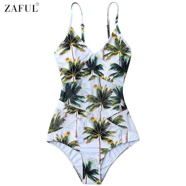 ZAFUL Vrouwen Plus Size Badmode 2017 Coco Palm Tree Print Een Stuk Badpak Zomer Strand Badmode Badpakken Monokini
