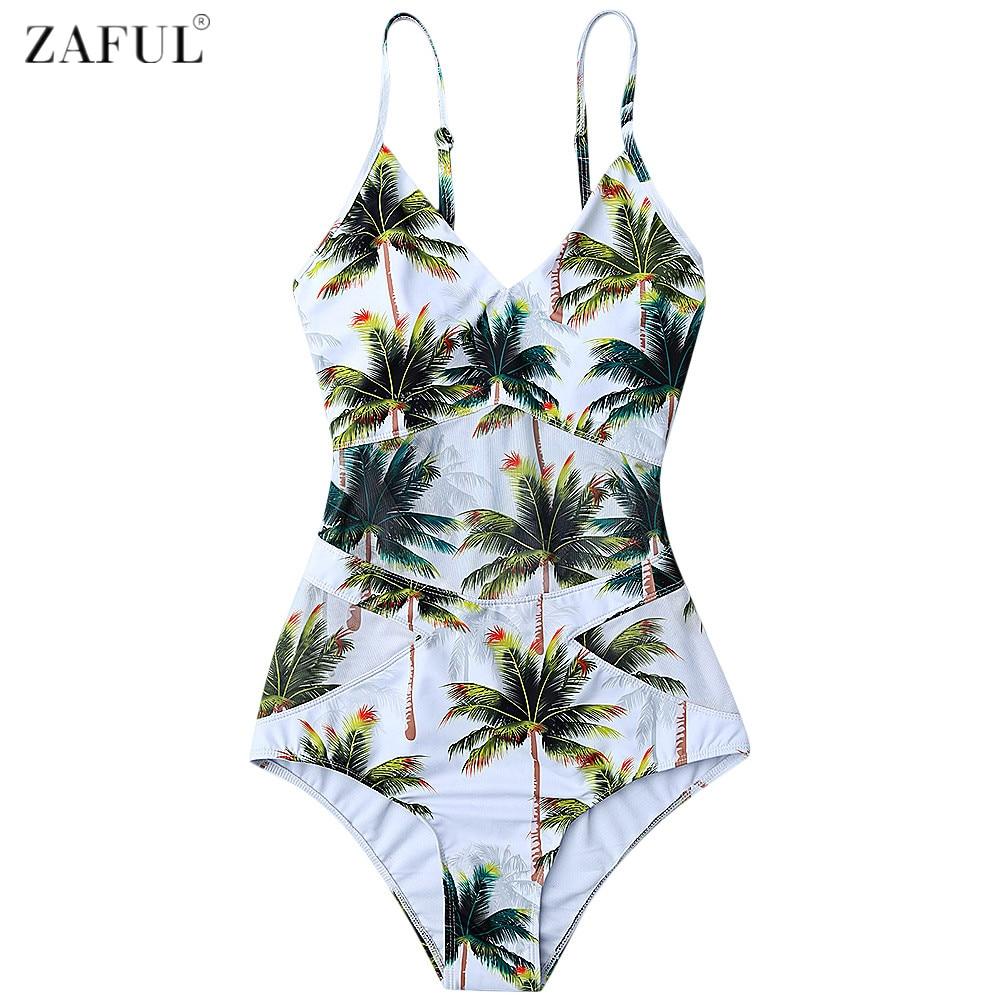 e69a5e41ba5 Товар ZAFUL Women Plus Size Swimwear 2017 Coco Palm Tree Print One Piece  Swimsuit Summer Beach Swimwear Bathing Suits Monokini -