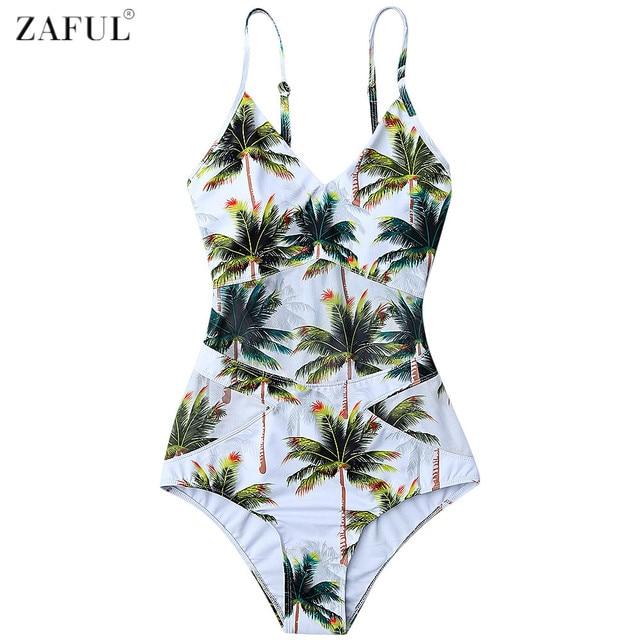415360a3b9 ZAFUL Women Plus Size Swimwear 2017 Coco Palm Tree Print One Piece Swimsuit  Summer Beach Swimwear