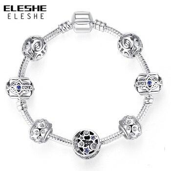 f5006c81bb95 ELESHE encanto de plata Pulsera y brazalete con azul ojo afortunado turco  estrella pulseras del encanto de las mujeres hecho a mano de Fátima