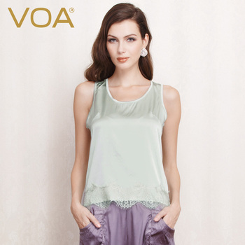 VOA all-match color tops female summer lace stitching silk tank comfortable B1032