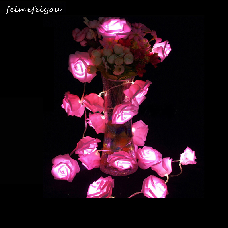 2019 Best Gift LED Rose Flower LED String Lights Battery Operated Event Christmas Wedding Birthday Party Decoration Lightings