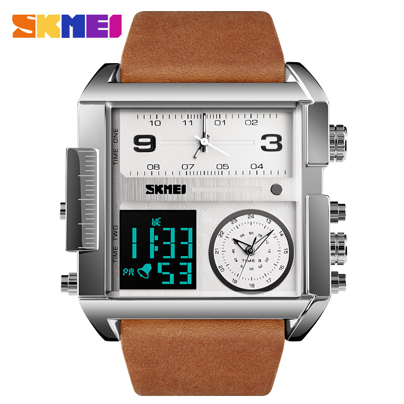 Men Watch Waterproof Leather Strap Quartz Watches Mens Luxury Brand Square Wristwatch Casual Clock Man relogio masculino SKMEI-in Quartz Watches from Watches on AliExpress - 11.11_Double 11_Singles' Day 1