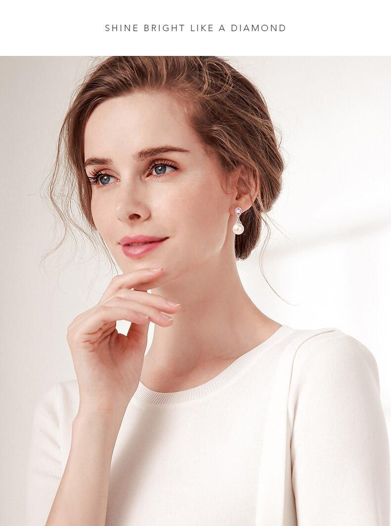 HTB1LTNjKwmTBuNjy1Xbq6yMrVXaN Warme Farben 925 Sliver Women Earrings Made With Swarovski Crystal Elegant Pearl Drop Earrings Fashion Jewelry Wedding Earrings