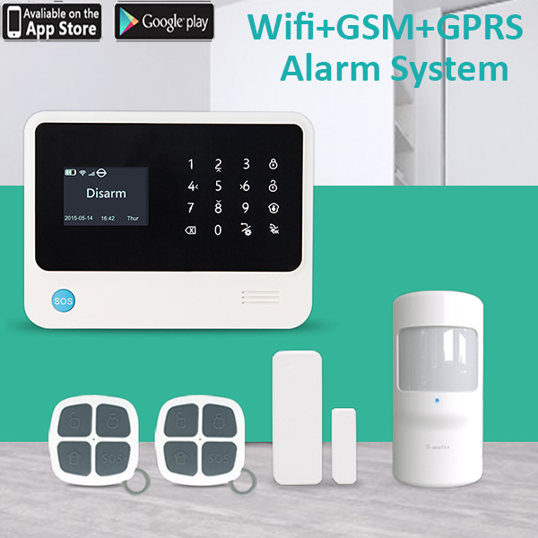 Wireless&wired G90B Wifi GSM Home Security Alarm System Touch Screen IOS Android APP Intruder Security Alarm door open sensor image