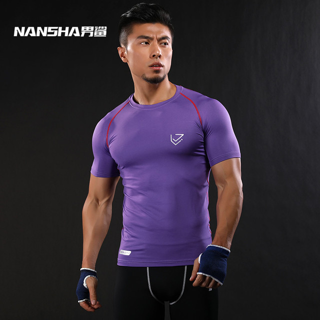 NANSHA Brand Men Quick Dry  Wear Bodybuilding Clothing Fitness Compression Tights Clothes Short Sleeve Gyms T Shirts