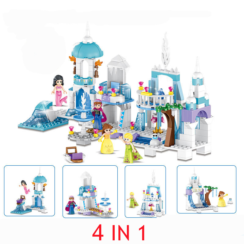 37024 Snow Queen Ice Castle Anna Elsa Figures Mermaid Ariel Beauty Princess Building Bricks Blocks Toy Legoings Friends Girls jg303 building blocks arendelle castle princess anna elsa buildable snow queen figures sy371 with blocks kids toys gift page 8