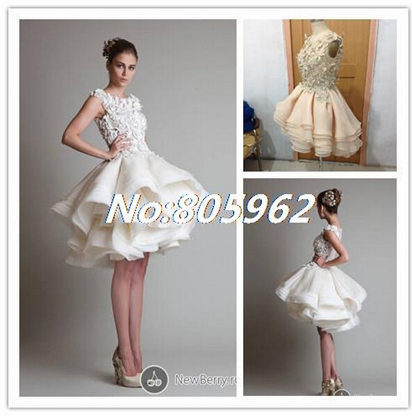 New 2014 Krikor Jabotian Scoop Knee length Lace Applique Ball Gown ...