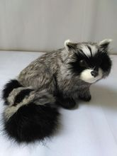 new cute simulation raccoon toy polytene & fur gray gift 12x9x11cm