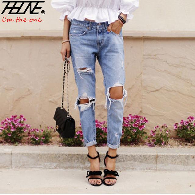 Otoño Nueva Moda Jeans de Algodón Mujeres Sueltan Cintura Baja Lavado Vintage Grande Del Agujero Rasgado Lápiz Largo Denim