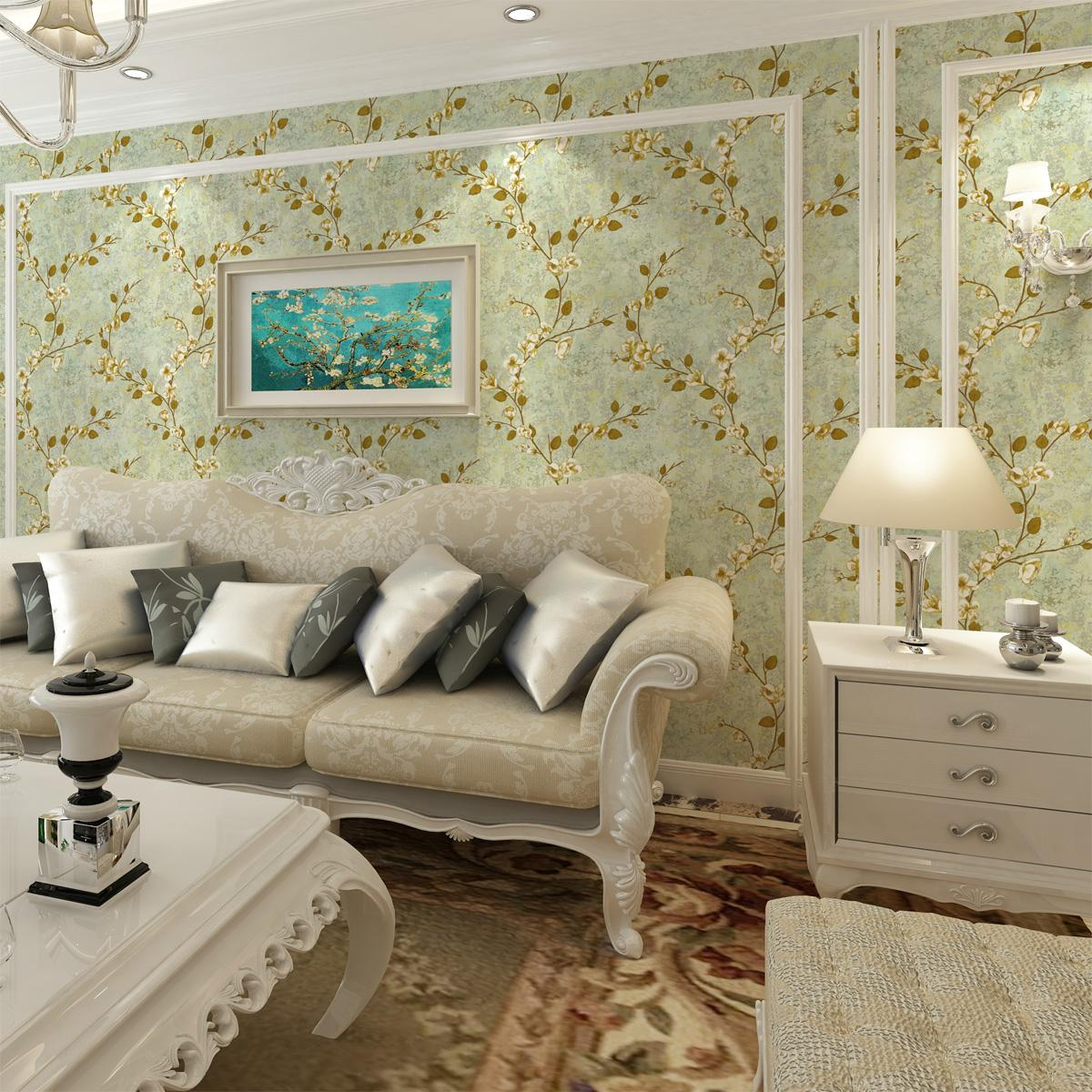 0.53x10m American Pastoral Style Retro Floral Nonwovens Wallpaper Wedding Room Bedroom Living Room Kids Room TV Background Wall0.53x10m American Pastoral Style Retro Floral Nonwovens Wallpaper Wedding Room Bedroom Living Room Kids Room TV Background Wall