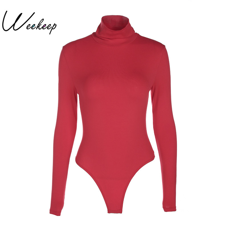 Weekeep Long Sleeve Sexy Female Slim Bodysuits Winter Red Turtleneck Skinny   Jumpsuits   For Women 2017 Warm Rompers Combinaison