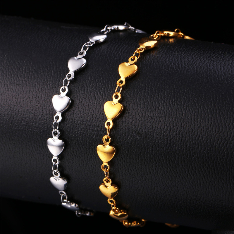 9853058cc0f8 Kpop corazón pulseras mujeres joyas de acero inoxidable oro color regalo  romántico para el amante mujeres pulseras H113