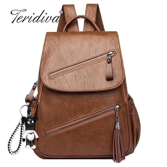 Vintage Tassels Backpack New Women Retro PU Leather Rucksack Big Capacity School Bag For Teenager Girl Travel Bolsas