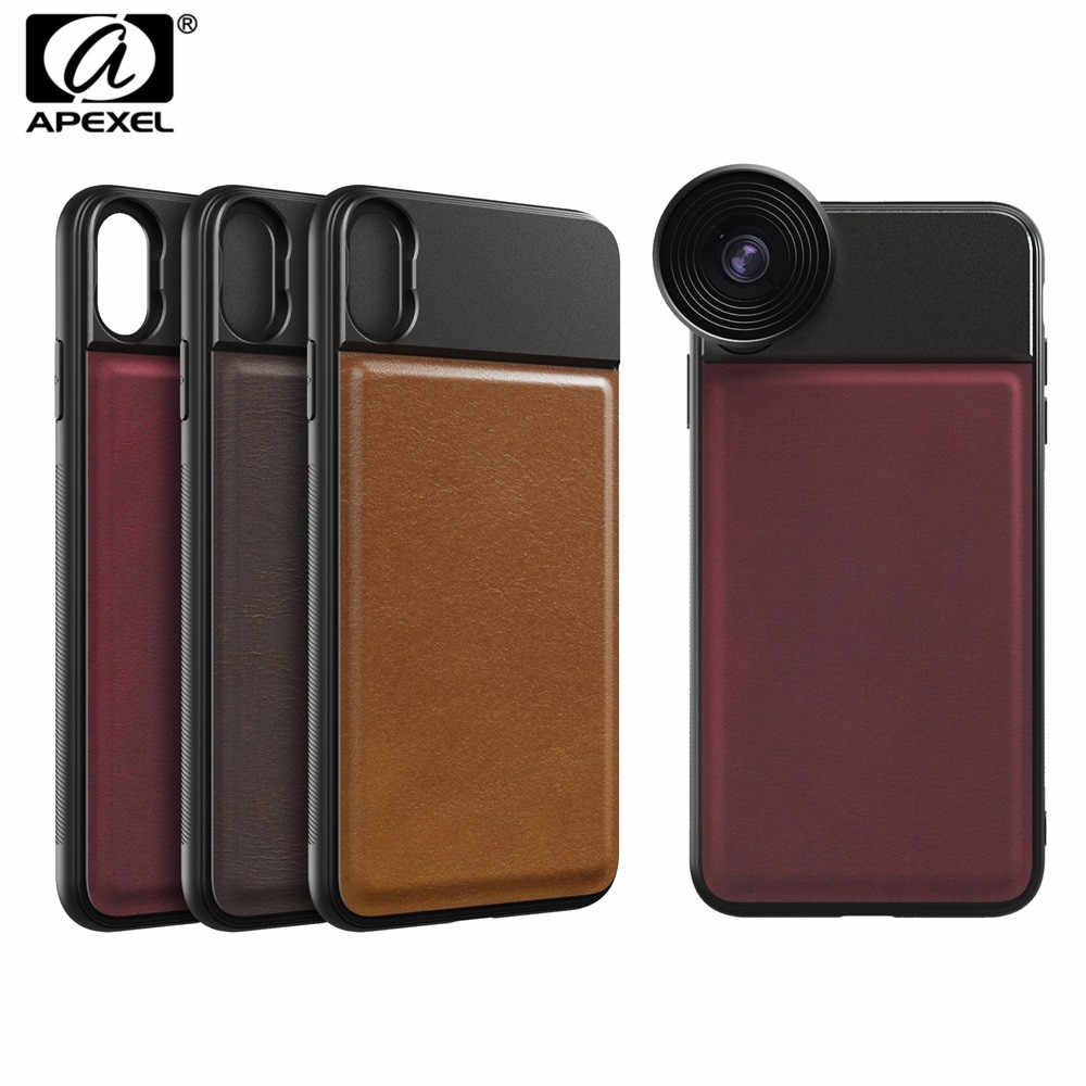 APEXEL 1 Pcs Professional 17mm Thread Phone Case For Mobile Lenses Aluminum Alloy+Leather Phone Case for iPhone X Samsung Huawei