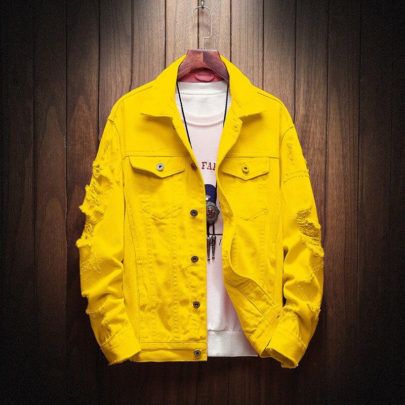 HO 2020 Autumn New Men's Solid Color Lapel Denim Jacket Tide Hole Green Denim Solid Color Jacket
