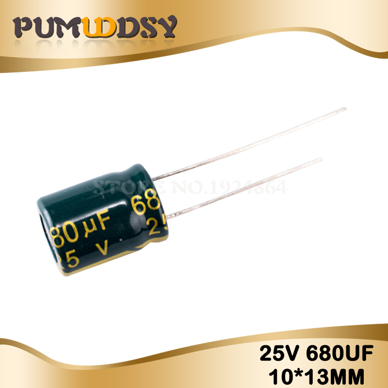 20PCS Higt Quality 25V680UF 10X13 680UF 25V 10*13mm Electrolytic Capacitor