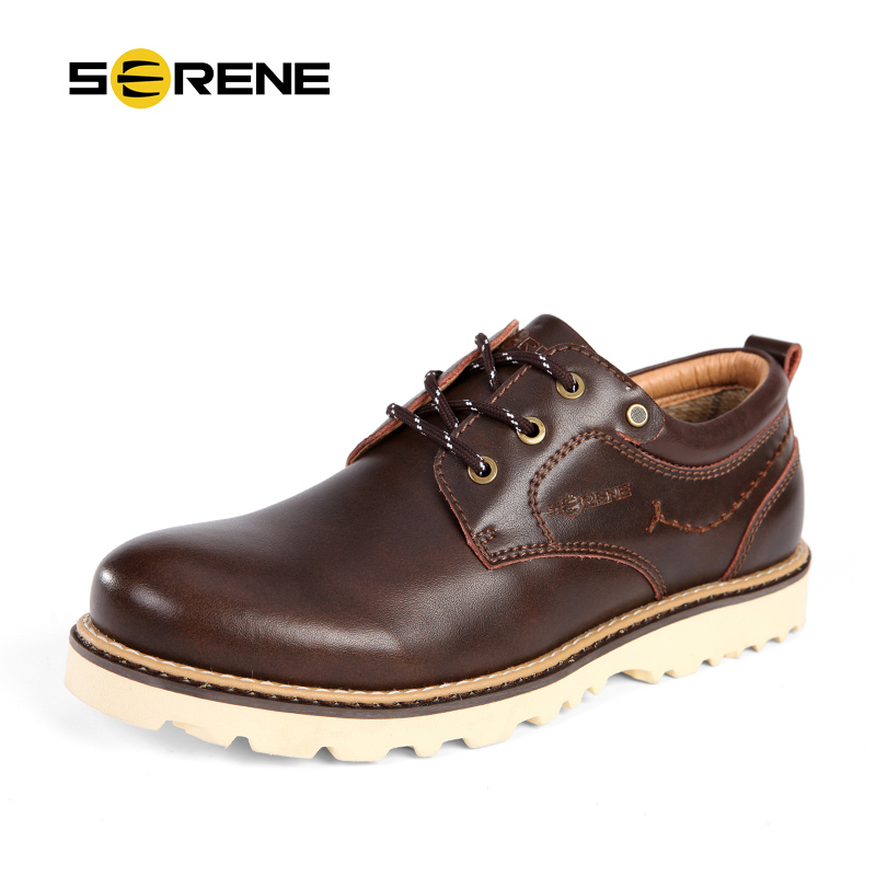 SERENE 2017 New Arrival Casual Leather Shoes Men Autumn & Winter British Tooling Tide Men Shoes With Lace Up Free Shipping 6303 men leather shoes comfortable breathable shoes doug tide set foot casual shoes new autumn winter british retro