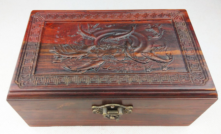 Wooden house red wood jewelry box jewelry box red wood carving furniture of solid wood crafts