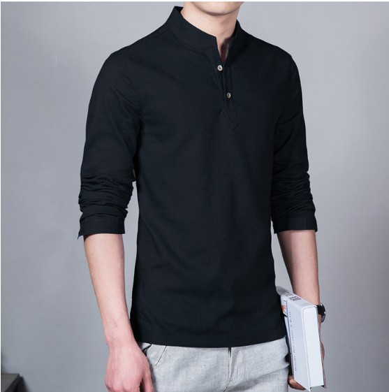 New Summer Men's Button Shirts Camisa Masculina Camisas Hombre Fashion Dropshipping Baggy Solid Cotton Linen Long Sleeve Clothes