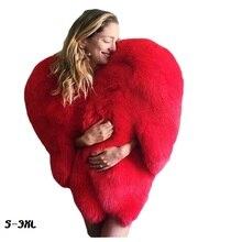 Fashionable 3D red love-shaped Cape man fox fur coat thick plus size womans faux fur coat long hairy jacket jacket winter