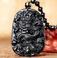 O Transporte da gota Única Natural Preto Obsidian Carving Dragão Sorte Amuleto Pingente de Colar Para As Mulheres Homens pingentes de Jóias de Jade