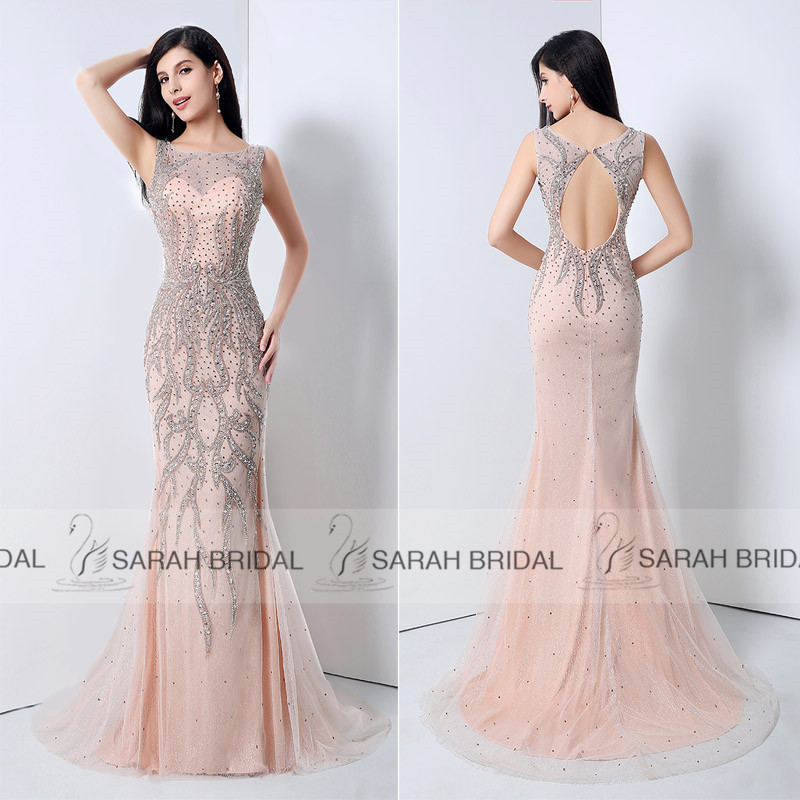 Luxurious Crystals Blush Mermaid Evening Dresses Elegant Open Back ...