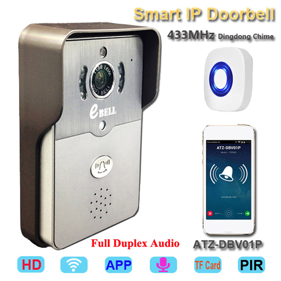 433Mhz Indoor Bell WIFI Video Door Phone IR Night Vision Wireless IP Doorbell ...