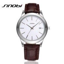 SINOBI Marca De Lujo Para Hombre de Cuarzo Analógico Reloj de Cuero Genuino de Negocios Calendario Reloj Relogio masculino SN04