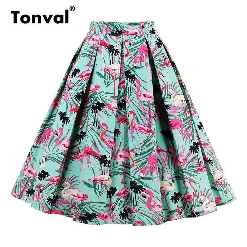 Tonval Leaf and Flamingo Skirt Women Pleated Skirt Vintage Style Cotton Faldas School Girls Casual Swing Skirts