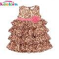 Keelorn девочка одежда 2017 Новая Мода девочка печати леопарда dress милые платья детские детская одежда