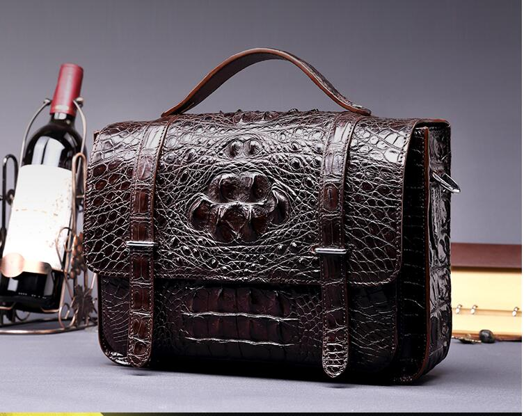 Tailand Import 100% Genuine/Real Crocodile Skin Men Briefcase Laptop Bag Top Handbag Black/Brown/Coffee