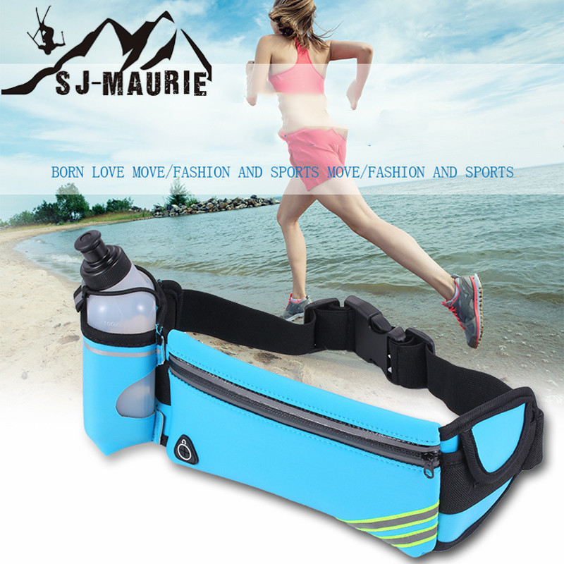 Runing Waist Bags Sports Bottle Holder Multifunctional Pack Marathon Running Reflective Adjustable Waist Belt Bags For Woman Man