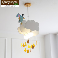Qiseyuncai Nordic minimalist timely rain cloud children chandelier creative boy girl bedroom children's room