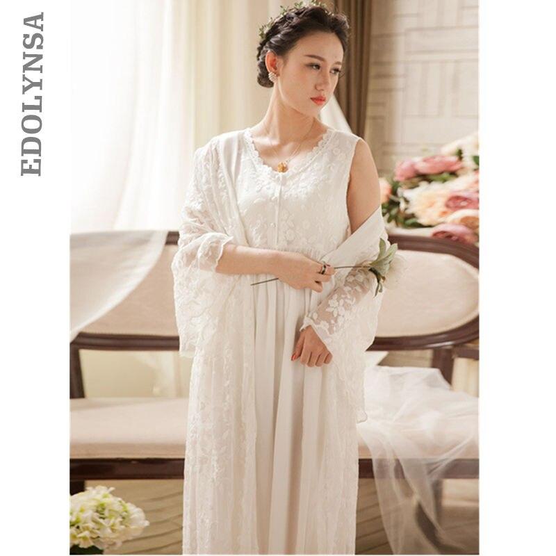 2 Pieces Sleepwear Robe Gown Sets Lace Kimono Transparent Sleeveless Nightgown Nightwear Women Cotton Long Negligee