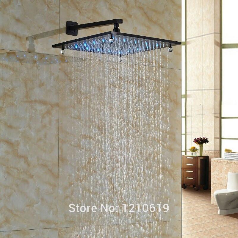 """Здесь продается  Newly Crystal Style Bath Shower Head 16"""" Wall Mount ORB Finish LED Lights Top Shower Sprayer w/ Arm  Строительство и Недвижимость"""