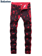 Sokotoo Mens skull printed red denim jeans Plus size fashion slim fit pattern painted stretch pants