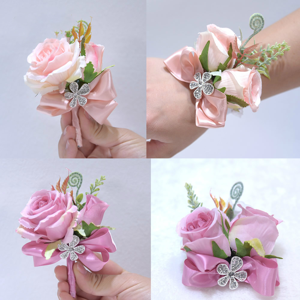 Bridal Silk Ribbon Blush Pink Purple Rose Corsage Flowers Groom Suit Men Boutonniere Bride Wedding corsages boutonnieres de noiv