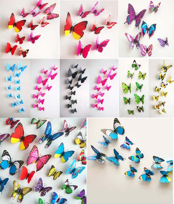 Hot Selling 12PCS 3D PVC Magnet Butterflies DIY Wall Sticker Home Decor Poster For Kids Rooms Wall Decoration Drop Shipping